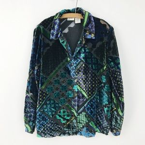 Vintage Teal Velvet Button Down Blouse Shirt